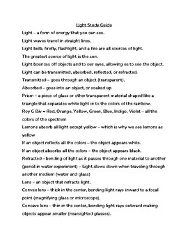 5th Grade Ohio - Light Study Guide