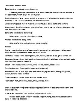5th Grade Ohio Standards Ecosystem Study Guide