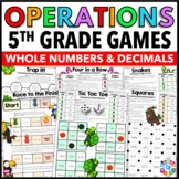 5th Grade Math Games: Whole Number & Decimal Operation 5.NBT.5, 5.NBT.6, 5.NBT.7