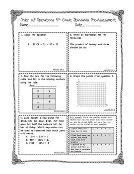Operations and Algebraic Thinking PRE and POST Assessment