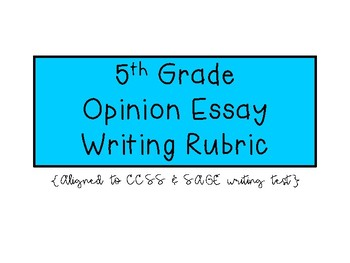 5th Grade Opinion Essay Writing Rubric