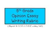 5th Grade Opinion Essay Writing Rubric