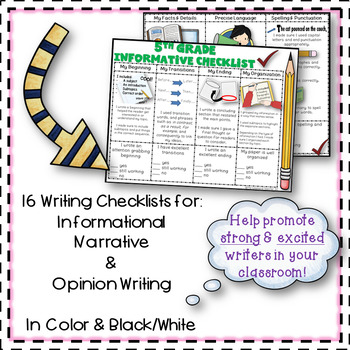 5th Grade Opinion, Narrative, & Informational Writing Rubric/Posters~ Editable