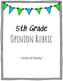 5th Grade Opinion Writing Rubric