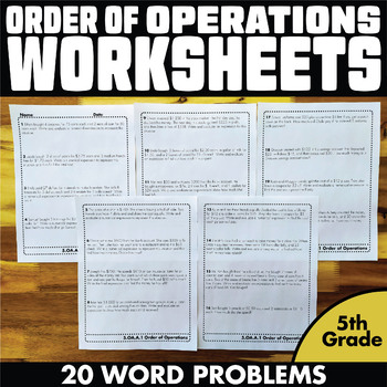Order of Operations Worksheets Word Problems 5th Grade by ...