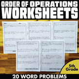 Order of Operations Worksheets Word Problems 5th Grade