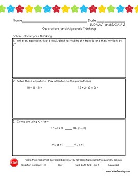 5th Grade - Parenthesis and Order of Operations Practice (w/ Student Self-Eval)