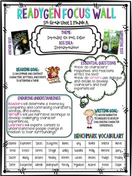 5th Grade Pearson ReadyGen Unit 1 Module A/B Focus Posters