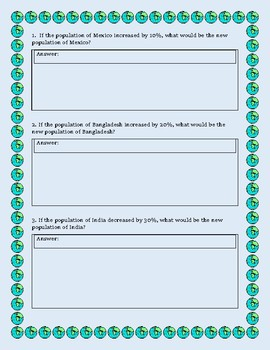 5th Grade Percentages Word Problems Using Real World Populations