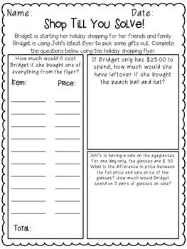 5th Grade Performance Tasks Adding, Subtracting, Multiplying, Dividing Decimals