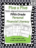 5th Grade Math TEKS Personal Financial Literacy Assessments {Texas}