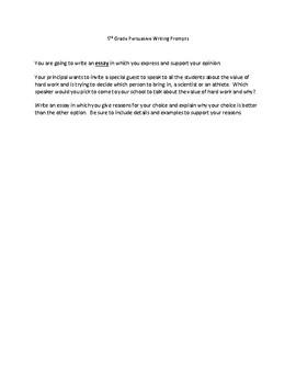 5th Grade Persuasive Writing Prompts