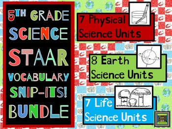5th Grade Physical, Earth, and Life Science STAAR Vocabulary Bundle***PDF