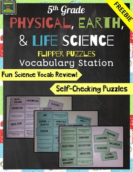 5th Grade Physical, Earth, and Life Science STAAR Vocabulary Puzzles FREEBIE