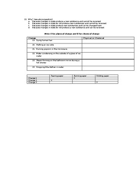 5th Grade Physical Science Review sheet or Test