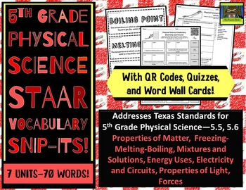 5th Grade Physical Science STAAR-Matter, Solutions, Light Energy, Circuits*ZIP