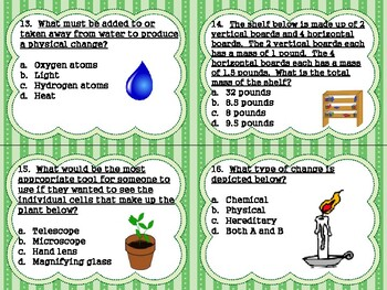 5th Grade Physical Science Task Cards:Sum of Parts S5P1; Chemical/Physical S5P2