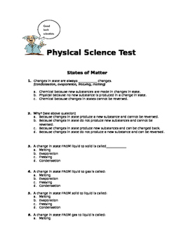 5th Grade Physical Science Test