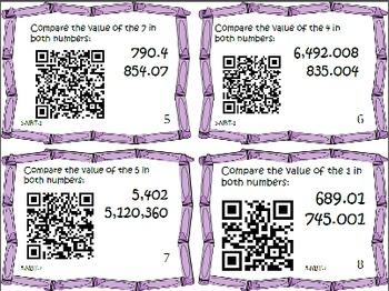 Math Bundle 5th Place Value Common Core Task Cards {QR Cod
