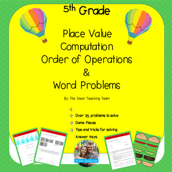 5th Grade Place Value, Computations, Order of Operations and Word Problems Games