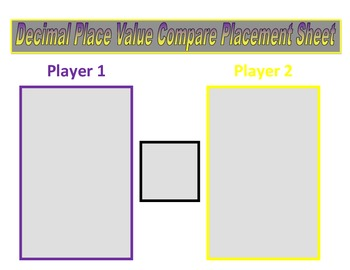 5th Grade Place Value Decimal Comparing Game for Common Core