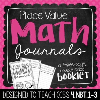 4th Grade Place Value Math Journal