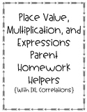 5th Grade Place Value, Multiplication, and Expressions Parent Homework Helpers