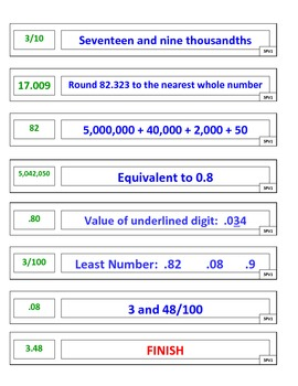 5th Grade Place Value Puzzle Game for Common Core
