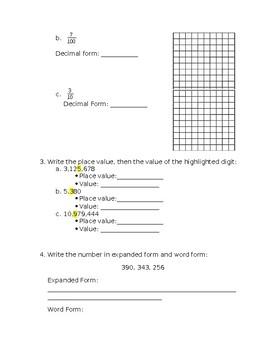 5th Grade Place Value Quiz