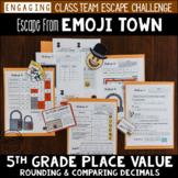 5th Grade Decimal Place Value Review Escape Room Escape from Emoji Town