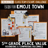 Decimal Place Value Review Escape Room 5th Grade / Test Prep