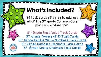5th Grade Place Value Task Cards Bundle