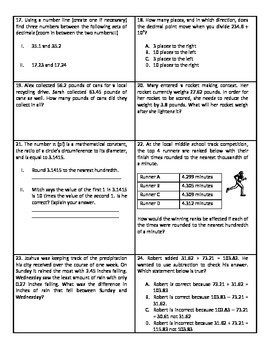 5th Grade Place Value Test - Common Core