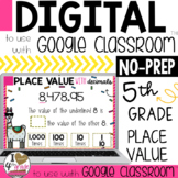 5th Grade Place Value to use with Google Classroom (5.NBT.1)