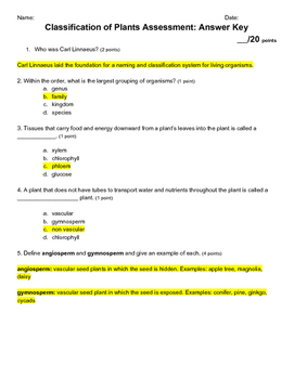 5th Grade Plant Classification Science Quiz