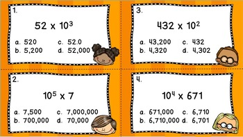 5th Grade Powers of 10 Task Cards