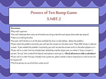 5th Grade Powers of Ten Bump Math Game {5.NBT.2} Common Core Aligned