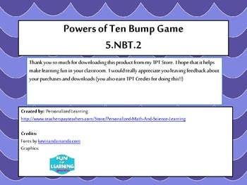 5th Grade Powers of Ten Bump Math Game {5.NBT.2} Common Core Aligned
