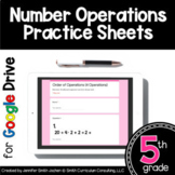 5th Grade Practice Sheets Number Operations | Distance Learning
