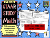 6th Grade STAAR Math: Proportionality Problem Solving--36 Questions***ZIP