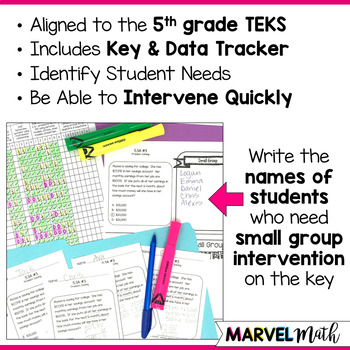 5th Grade Problem Solving with Whole Numbers TEKS Exit Slips