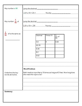 5th Grade Properties and Place Value Guided Cornell Notes