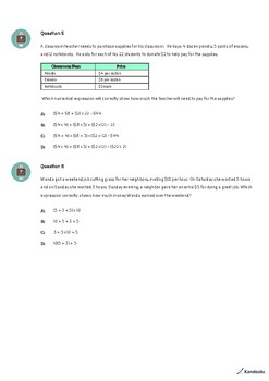 5th Grade Quiz: Write and Interpret Numerical Expressions