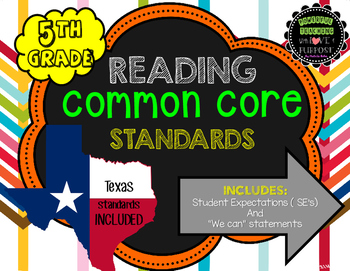 5th Grade READING Common Core Standards/Expectations