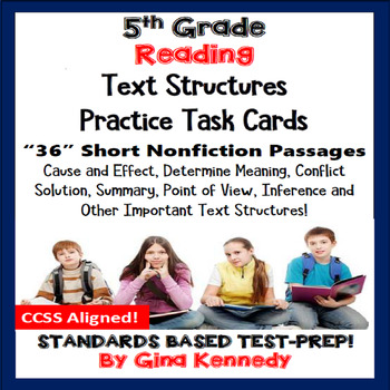 5th Grade Reading Skills Task Cards, 36 Nonfiction Passages in All!