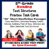 5th Grade Reading Skills Task Cards, 36 Nonfiction Passage
