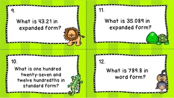 5th Grade Read & Write Numbers Task Cards