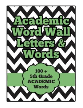 5th Grade Reading ELAR Academic Word Wall Set - White & Black Chevron with Green