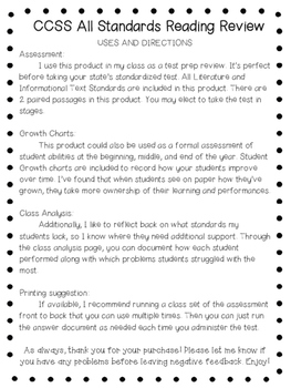 5th Grade Reading Assessment - ALL CCSS Standards Test Prep Review
