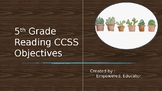 5th Grade Reading CCSS Objectives